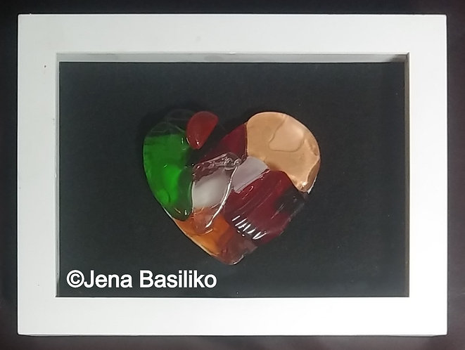 Glass Art | Glass Heart | 6 x 8 Shadow box