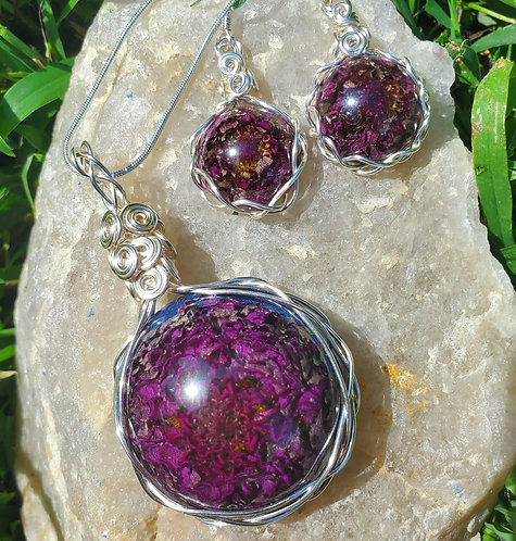 Purple Flower Necklace and Earring Set | Made with REAL flower