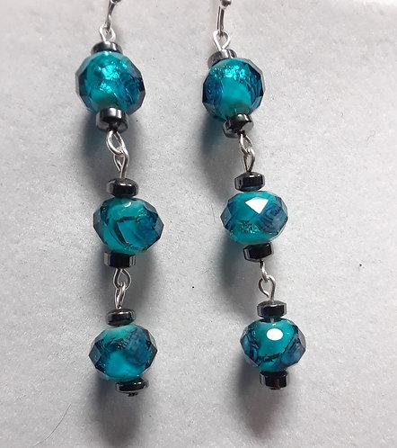 Blue Lampwork Flower Earrings   Jewelry   Silver