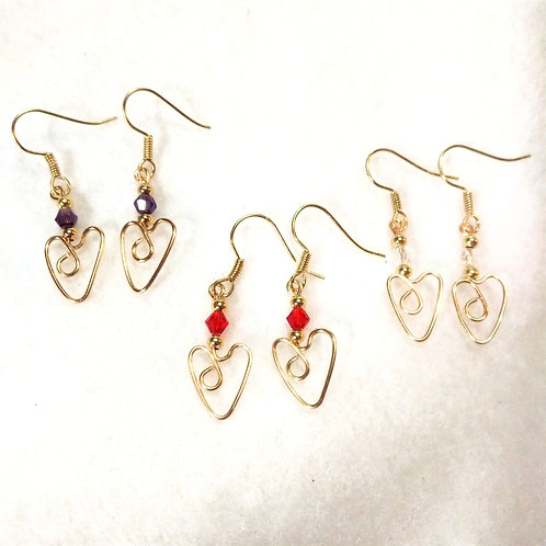 CUSTOM ORDER Red/Purple/Clear Gold Wire Wrapped Heart Earrings