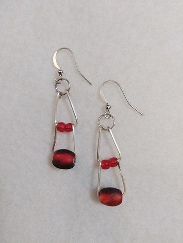 Red double drop earrings