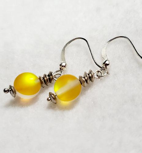 Yellow Mystic Aura Bead Earrings
