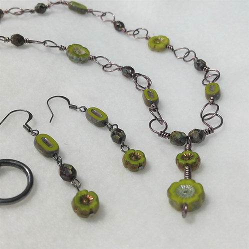 Czech Glass | Olive Green | Wire Wrapped Jewelry | Necklace | Earring