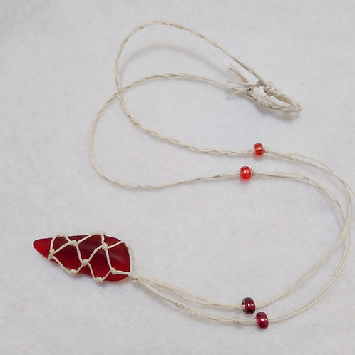 Sea Glass | Red | Adjustable Braided Hemp Necklace  (1)