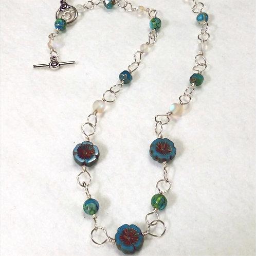 Czech Glass Necklace | Earth | Flower