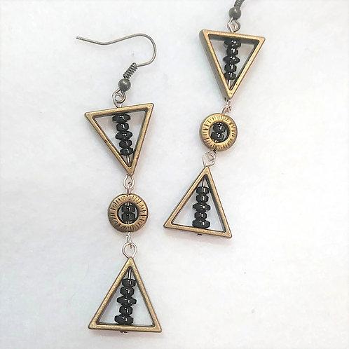 Hematite / Metallic gold triangle 3 Drop Earrings