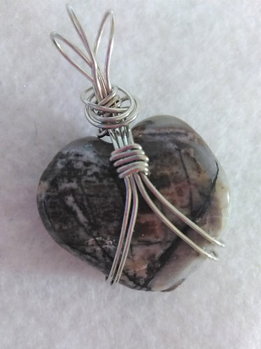 Mystery stone | Heart | Wire wrapped Pendant | Jewelry
