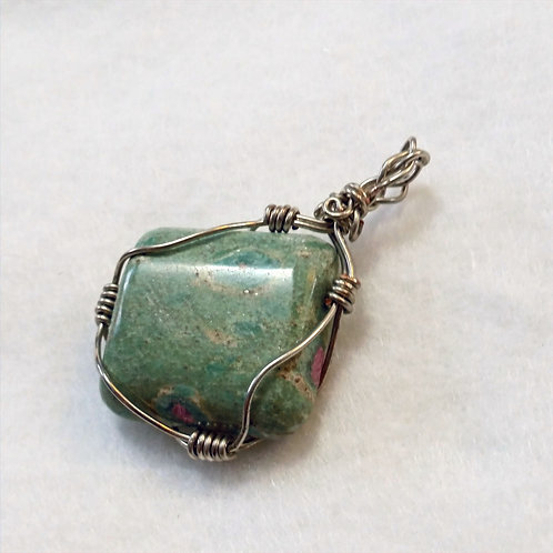 Ruby Fuchsite Wire Wrapped Pendant