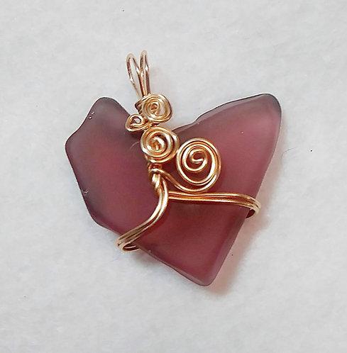 Sea Glass | Purple | Heart | Wire Wrapped Pendant | Jewelry