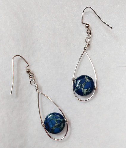 Blue | Wire Wrapped Earrings | Made to order