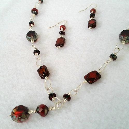 Red Czech Glass Drop Necklace