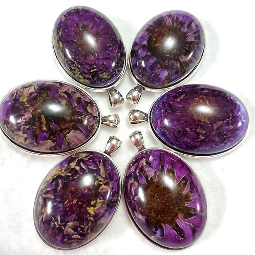 REAL Flowers | Purple Oval | Earth's Natural Art and Jewelry