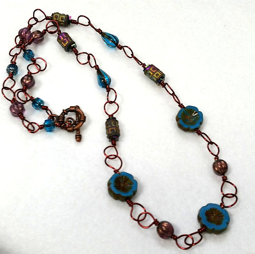 Blue Flower Czech Glass Wire Wrapped Copper Necklace