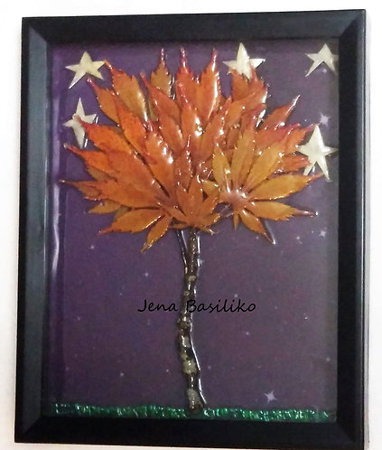 Earth Art | Japanese Maple Mid Fall | 3D Framed Natural Art | 8 x 10 inches