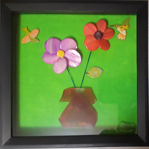 BRIGHT Flowers with orange sea glass vase | 9x9in shadow box (1)
