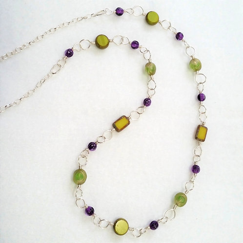 Green and Purple Czech Glass Necklace