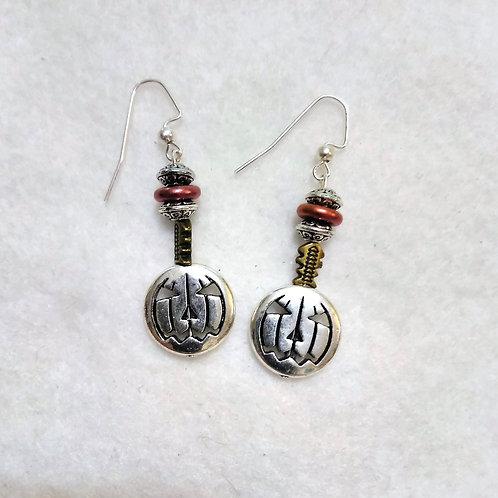 Pumpkin Earrings | Silver | Halloween Jewelry
