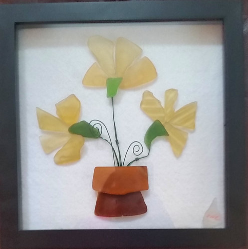 Yellow sea glass flowers | framed glass art | 9x9inch shadow box