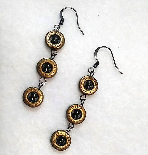 Hematite | Metallic Gold | 3 Drop Earrings