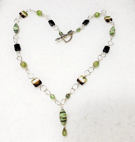 Green and Black Czech Glass Wire Wrapped Necklace
