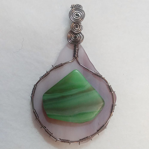 Glass | Wire Wrapped Pendant | Purple and Green