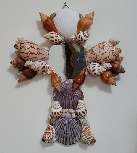 Seashell Wall Cross | Decorative Mirror | Large Cross | Religious décor