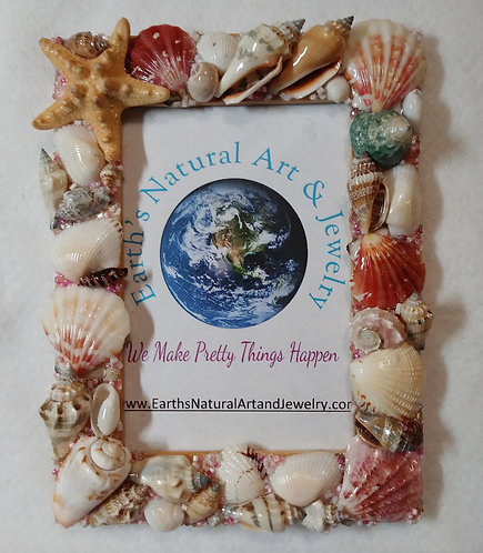 Frame covered in Seashells | Home Décor | 4 x 6 in picture frame