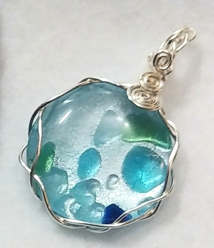 Blue Silver Foil Glass Pendant | Free Chain