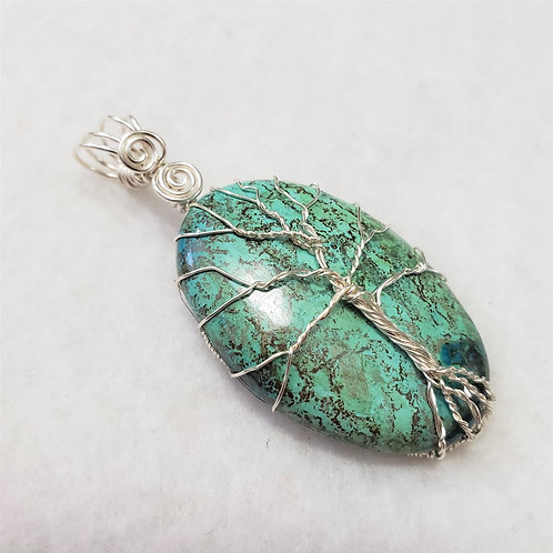 Chrysocolla Tree of Life Wire Wrapped Pendant