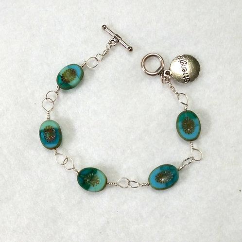 Teal Czech Glass Strength Bracelet