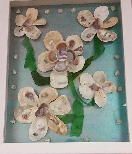 Shell Art | metallic background | Shell flowers | Sea Glass