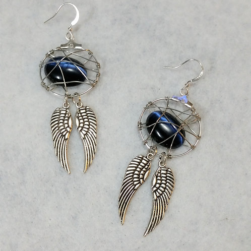 Blue Winged Cats-eye Wire Wrapped Earring