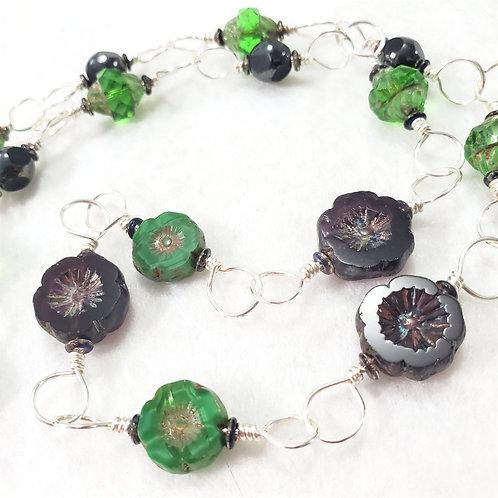 Green and Dark Purple Czech Glass Necklace