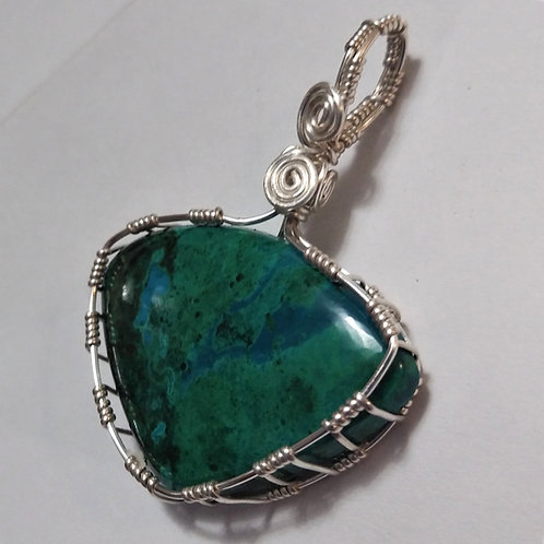 Chrysocolla | Wire Wrapped Pendant | Earth's Natural Art & Jewelry - close up
