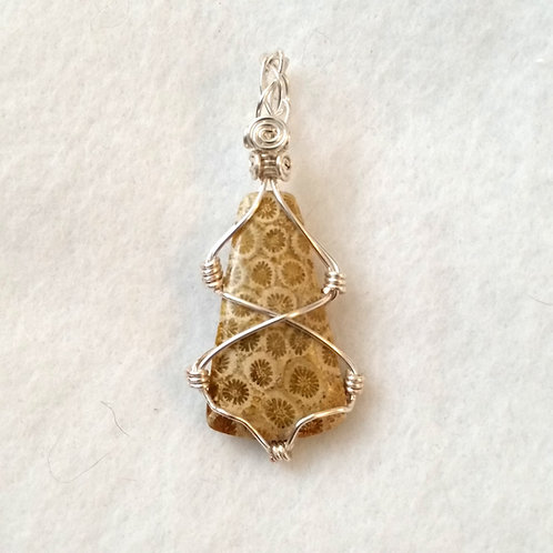 Tan Petoskey Stone Wire Wrapped Fossil Pendant