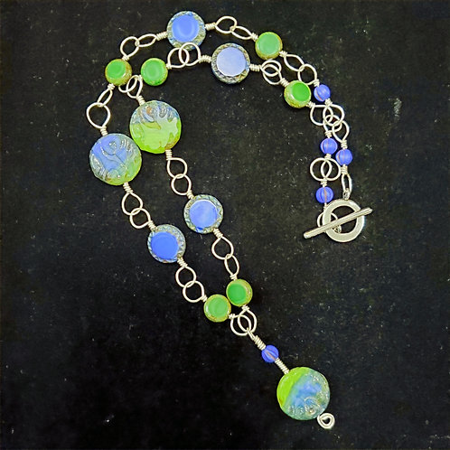 Blue and Green Wire Wrapped Czech Glass Necklace