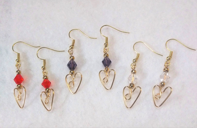 Heart Earrings | Large Beads | MADE TO ORDER | Wire Wrapped