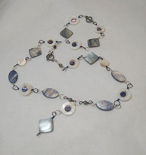 Extra Long Purple / Grey Wire Wrapped Shell Necklace, Bracelet Set