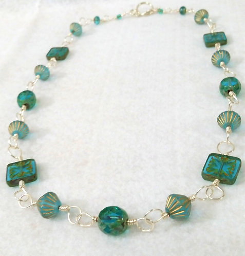 Teal Czech Glass Necklace