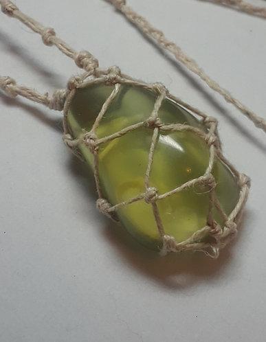 SeaGlass | Green | Hemp Necklace | Adjustable (1)