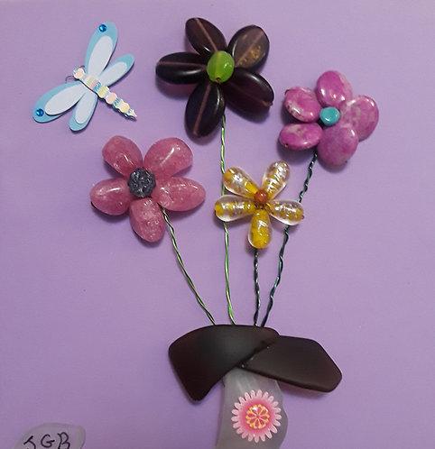 Bead Flowers | sea glass vase | 9x9 inch shadow box | Art for children & teens (1)