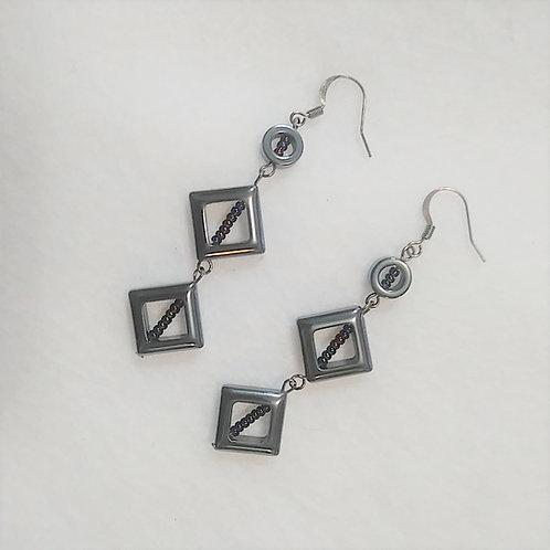 Hematite in Hematite | 3 Drop Earrings (1)