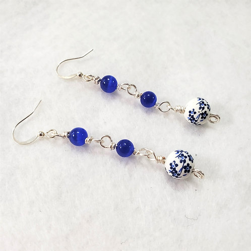 Blue Ceramic Cats Eye Earrings