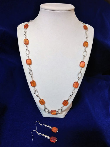 Necklace and Earrings | Orange | Jewelry | Necklace
