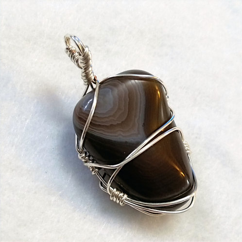 Agate | Wire Wrapped Pendant | Jewelry | For Him | Botswana Agate