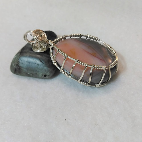 Agate | Pink Botswana Agate | Wire Wrapped Pendant