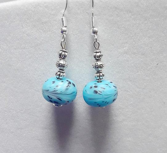Blue Lampwork Earrings   Jewelry
