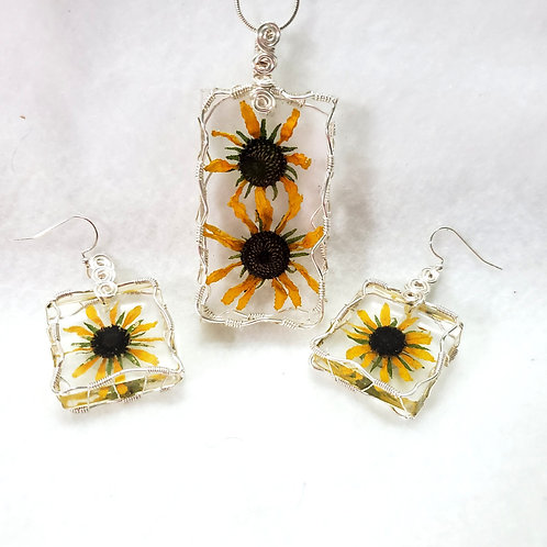 Necklace and Earrings Set CUSTOM Order | Made with REAL Flowers