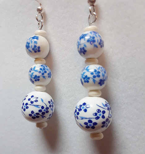 Ceramic earrings with blue flowers| Earrings