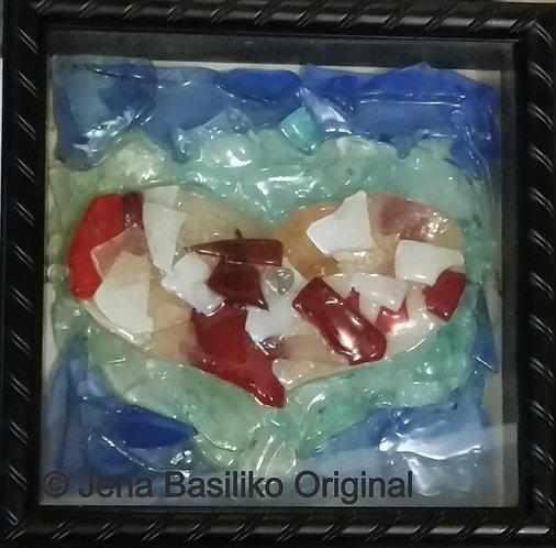 Glass Heart 10 x 10 Black Shadowbox